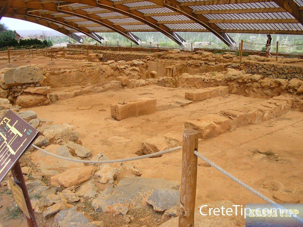 Überdachter Ausgrabungsbereich Malia – Kreta Tipp