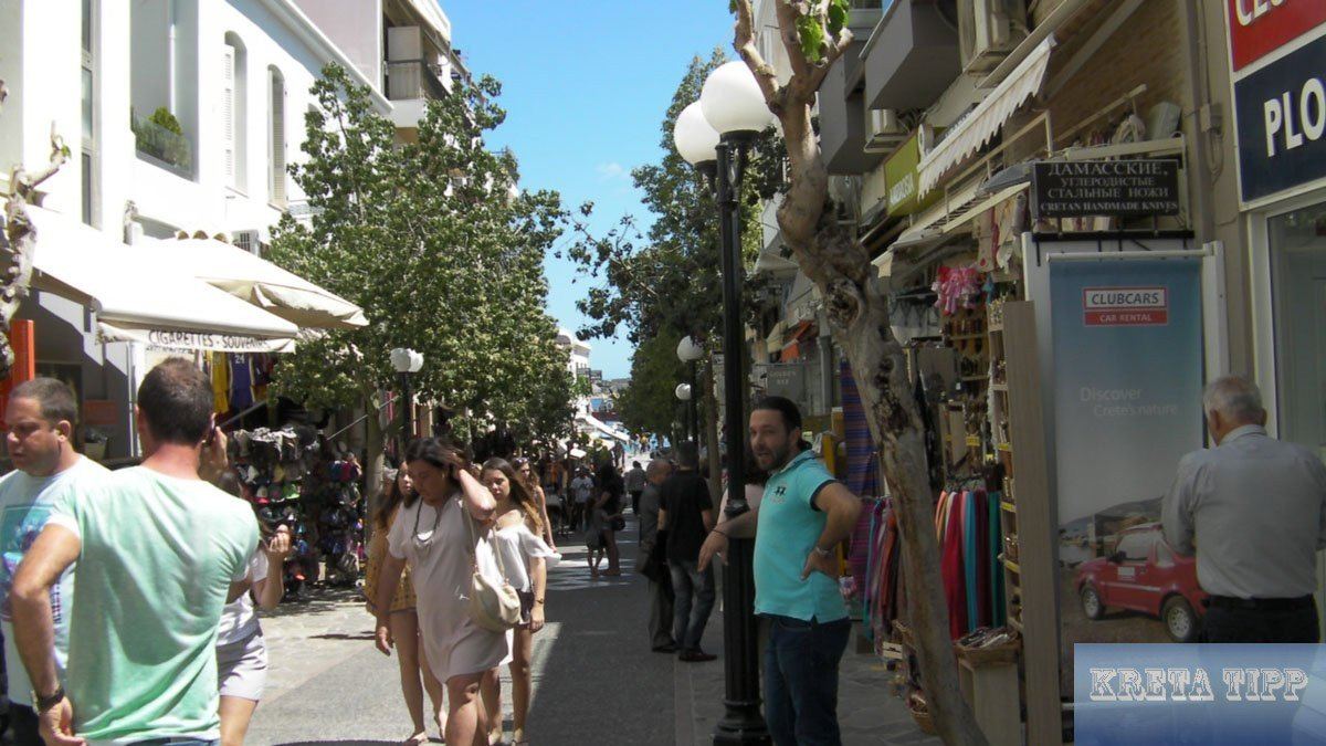 Fußgänger-Einkaufstrasse in Agios Nikolaos